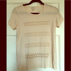 J Crew soft peach T-shirt w metal embellishments